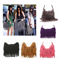 fringe bags - 2015 Hot Suede Fringe Tassel Shoulder Bag women s fashion brown handbag purse tote bags bag
