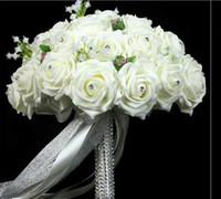 Wholesale Elegant Wedding Bouquet Good Wedding Gift Beads Pearls Artificial Rose Flowers Diamond Handle Bridal Holding Flowers