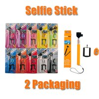 Wholesale Extendable Handheld Z07 Bluetooth Self Monopod selfie stick Wireless Shutter Self Timer Sticks Blister Pack for IOS Android via DHL