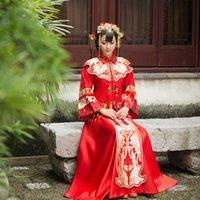 Wholesale 2015 New Long Sleeve Cheongsam Dress Qipao Bride Dress Chinese Traditioal Qipao Cheongsam Dress Two Pieces Longs Style