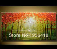 oil painting gallery - Large Custom Oil Painting Birch Trees on Canvas Gallery Quality Palette Knife Home Decoration Wall Art Wall Hangings Art Gift