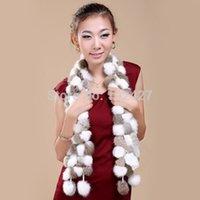 rabbit fur scarves - New Women Winter Faux Rabbit Fur Scarf Lady Casual Fur Scarves Fur Ball Velvet Rabbit Long Style Desigual Scarfs Shawls