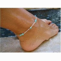Wholesale 2015 Silver Plated Ankle WomenTurquoise Foot Jewelry New Simple Pc Unique Nice Beads Chain Sexy Anklets