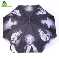 Wholesale Marilyn Monroe Printed Fold Automatic Women Clear Rain Umbrellas For Sale Chinese Famous Brand Color Umbrella Parasol