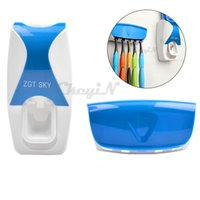 Wholesale Fashion Household Automatic Toothpaste Dispenser Toothbrush Holder Set Wall Mount Rack Family Bathroom Sets EM010Q P