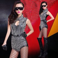 ballet dance bars - sexy Ballet dance according to ds lead dancer nightclub bar DJ stage costumes rivet singer clothing Siamese Split Set