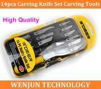 Cheap Free shipping High Quality 14pcs Hobby Knife Set, wood carving tools, carving knife set order<$18no track