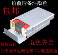 aluminum edge banding - Outdoor Creative Anti Break Aluminum Alloy Cigarettes Cigarette Slide Ultrathin Automatic Elastic Cover Creative Metal Gift C
