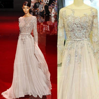 Wholesale Elie Saab Bling Bling Evening Gowns With Sleeves Sheer Neck Floor Length Beads Crystal Prom Dress Real Image Celebrity Red Carpet Dress