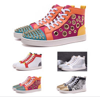 pvc snake leather - HOT Sales NEW Men s Snake Skin Rivet Diamond High Top Casual shoes Top Quality Women and Men s Shoe size