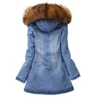 Wholesale New Womens Denim Oversized Hoodie Hooded Blue Outerwear Winter Jean Jacket Fur Collar New Long Denim Women Coat with Hat