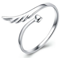 angle band - 925 sterling silver jewelry rings opening adjustable angle wings cute ring for women