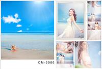 Venta al por mayor de encargo 5X7FT puro cielo de fondo del océano de mar para la boda de muselina de la fotografía digital por ordenador Impreso de tela de vinilo Telón de fondo
