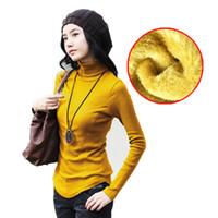 Cotone e morbido velluto Large Size femminile Collo basa la camicia femminile autunno e l'inverno Slim solido di colore lungo Seeved maglietta 15081
