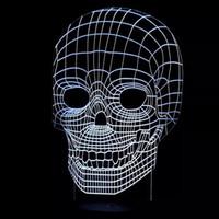 Ball No No 2016 Hot Special Offer Skull 3D Optical Night Light 7 RGB Light 10 LEDs DC 5V AA Battery Gift