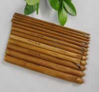 bamboo knitting needles free shipping - different sizes Handle Crochet Hook Bamboo Knitting Knit Needle Set Weave Tools