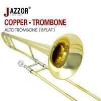 Wholesale JAZZOR JZTB Professional alto trombone B flat horn brass wind instruments with trombone mouthpiece gloves