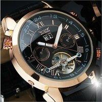 Hot uomini della vigilanza del cuoio numero d'oro mens immersione meccanici risalgono automatico orologi di lusso sportiva JARAGAR