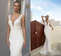 basque dress pattern - White Appliqued Wedding Dress Spaghetti Straps New Arrival V Neck Plunging Bridal Gowns Lace Pattern Julie Vino Wedding Dress Winter