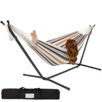 hammock stand - Double Hammock With Space Saving Steel Stand Includes Portable Carrying Case