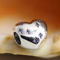pandora charms - 2015 Sterling Silver Cinderella Heart Charm Bead with Blue Cz Fits European Pandora Jewelry Bracelets Necklaces Pendants