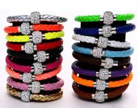 Cristales checo pulseras Baratos-ENVÍO LIBRE Brazalete magnético de las pulseras del corchete de la nueva de 16 colores MIC Shambhala armadura de la arcilla cristalina checa del cuero de la armadura