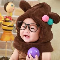 bear hooded scarf - Christmas gift new winter bear baby hat shape Boys and girls hooded collar fleece baby hat