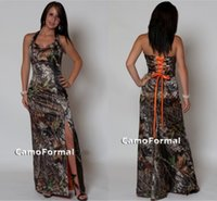 achat en gros de robe imprimée camouflée-Halter Lace-up Retour Camo Robes de demoiselle d'honneur Split Side Sexy Camouflage Print Floor Length Robes de demoiselle d'honneur Cheap Plus Size Formal Dresses