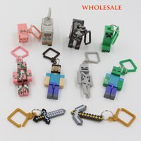 animal hangers - new Compatible For Minecraft Key chain Toys For Home Decoration Micro World Hanger Keyring Clip Figures