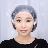 Wholesale Hair Salon Disposable Shower Cap Hotel Spa Bathing Shower Caps Transparent One off Hat JC0158 kevinstyle