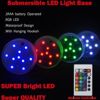 Wholesale RGB Multi colors Remote control Submersible LED Gadget light LED vases base light for wedding Party celebration Supplies