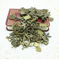 Wholesale 60 pattern Mixed Assorted Carved Charms Pendants Beads Metal Alloy Pandent Plated Antique Bronze Diy Bead AC