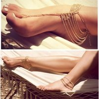 Wholesale 2015 New arrival Hot sale best quality Simple Plated Toe Ankle Bracelet Multi Tassel Toe Bracelet Chain Link Foot Jewelry Ankl