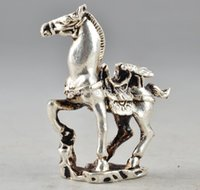 horse statue - Amulet Tibet Silver Chinese Old Collectable Handwork Carving Horse Statue Decor