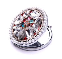beautiful cosmetic glass - Iron Cosmetic Mirror Beautiful Jewelry with Crystal amp Glass amp Zinc Alloy Flat Round plated