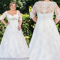 Wholesale Plus Size Lace Wedding Dresses With Square Neckline Long Sleeve Covered Button Wedding Dress A Line Sweep Train Beach Bridal Gowns