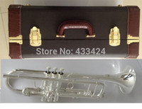 Wholesale Taiwan Bach Double silver plated AB190S Bb Artisan Collection trumpet HARD LEATHER case Top musical instruments Brass bugle
