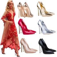 Red heels - Plus size nude patent leather metal thin heel shoes women office shoes work shoes size to