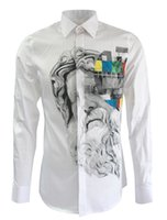 white dress shirt for men - New Brand Casual Blazers For Men Gypsum Head Stamped Print Clothing White Long Sleeve Mens Dress Shirts Plus Size M XXXL Hot Sale
