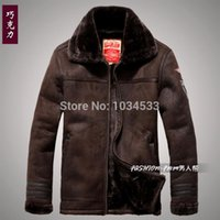 air force parka - Fall New Mens fur Nordic Air Force Pilot Moto leather suded Jacket Coat parka outwear
