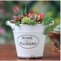 ceramic flower pots - Creative Retro Imitation enamel Ceramics Flower pot Binaural There are holes Gardening Furnishings