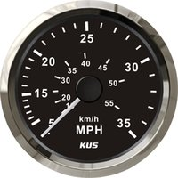 Wholesale 85mm speedometer black faceplate silver stainless steel bezel speedo MPH KY18003 for car truck boat yacht