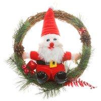 apple wreath - 2015 Christmas Wreath with Santa Claus and Apples Dia cm Home Garden Ornament Garland of Pine Needles Door Deco DWC006