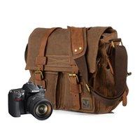 Wholesale Muchuan Canvas Vintage DSLR SLR Camera Shoulder Bag Men s Vintage Canvas Leather Military Messenger Bag For Canon For Nikon For Sony