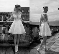 Wholesale Alessandra Rinaudo Short Wedding Dresses Half Sleeves Appliques Sheer Lace Wedding Gowns Custom Made Beach Garden Bridal Dresses