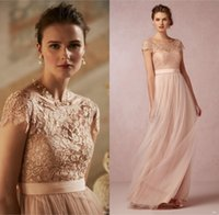 Wholesale 2016 Vintage Blush Lace Long Bridesmaids Dresses Illusion Bateau Neck Chiffon Capped Sleeves Low Back A Line Floor length Evening Dresses