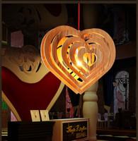Wholesale Heart shaped Wood Pendant Lamp Art Heart shaped Chandelier Dining Room Bar Counter Nordic Simple Wood Pendant Light