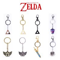 Wholesale zelda keychains The Legend of Zelda Keyring with blister card free DHL EMS high quality Mini Equipment With Sheath keychain