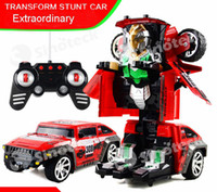 rc control robot - Transform Stunt Car Remote Control Flashing Model RC Car Remote Control Cars Ready to go Electronic Transformation Robot Flashing DHL