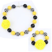 beads for bracelets and necklaces - Children Yellow Roses Beads Necklace and Bracelet Jewelry Sets for Kids Jewelry Decoration Dress Accessories